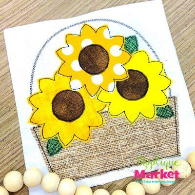 Sunflower Basket Bean Stitch Applique