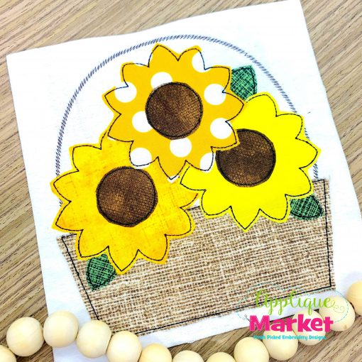 Sunflower Basket Bean Stitch Applique