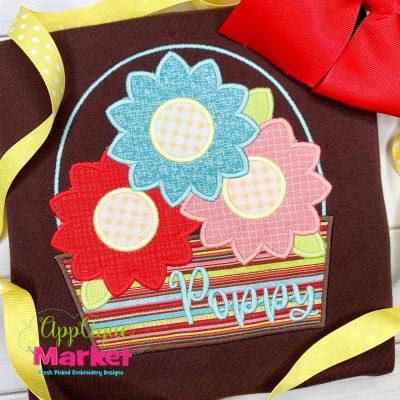 Sunflower Basket Bean Stitch Applique Design