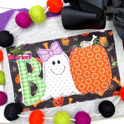 Boo Ghost Bow Bean Applique