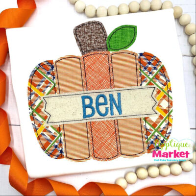 Pumpkin Plank Banner Bean Applique